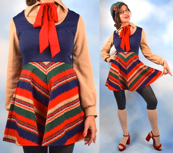 Vintage 60s 70s Illusion Jumper Chevron Print A Line Mini Dress (size small, medium)