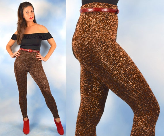 Vintage 80s 90s Copper Lurex Knit High Waisted Leggings with Foot Stirrups