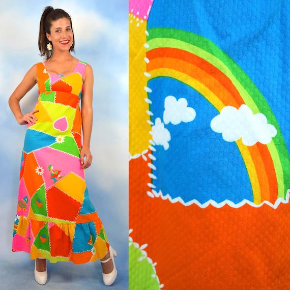 Vintage 60s 70s Malia Dayglo Patchwork Novelty Print Maxi Dress