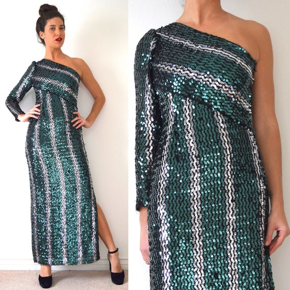 Vintage 90s Sequined One Shoulder Evening Gown (size small, medium)