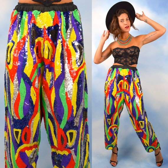 Vintage 80s 90s MIND BLOWING Rainbow Sequined and Beaded High Waisted 100% Silk Harem Pants (one size fits many)