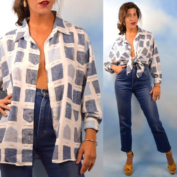 Vintage 90s Denim Pockets Novelty Print Oversized Button Down Shirt