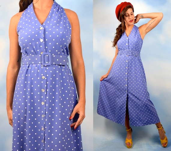 Vintage 90s does 50s Cornflower Blue Polka Dot Button Front Sleeveless Shirt Waist Dress (size small, medium)