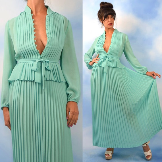 Vintage 70s does 30s Robin Egg Blue Accordion Pleated Peplum Waist Maxi Dress (size small, medium)