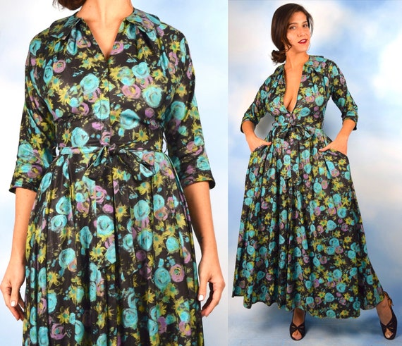 Vintage 50s 60s Rosette Floral Print Polished Cotton Hostess Dress (size xs, small)