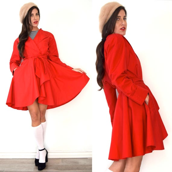 Vintage 80s 90s Neiman Marcus Red High Low Short Princess Raincoat (size medium)
