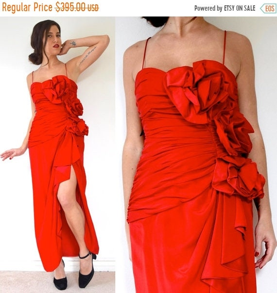 SALE SECTION / 50% off Vintage 80s does 50s Fred Hayman Scarlet Red Ruched Bodice with 3D Roses Evening Gown (size medium)