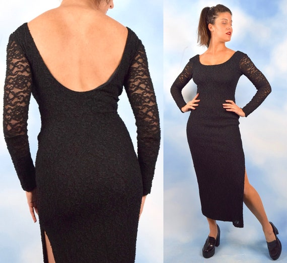 Vintage 90s Black Lace Scoop Back Long Sleeved Midi Dress (size xs, small, medium)