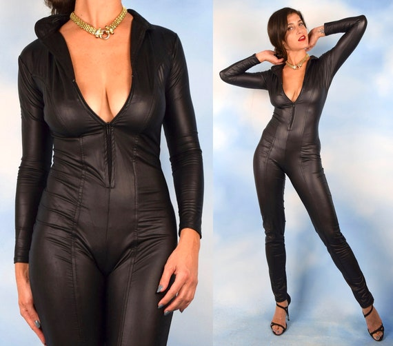 Vintage 80s 90s Black Latex Zip Up Body Suit (size small, medium)