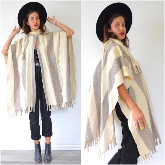 Vintage 70s Vanilla and Oatmeal Broad Striped Wool Fringe Blanket Shawl with Attached Scarf