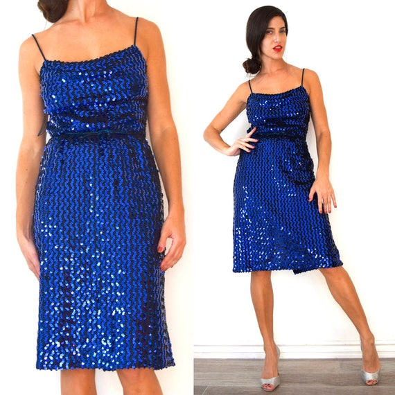 Vintage 70s does 50s Royal Blue Sequined Lurex Cocktail Dress (size small, medium)
