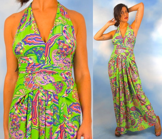 Vintage 60s 70s Lillie Rubin Green Psychedelic Print Halter Back Maxi Dress (size xs, small)