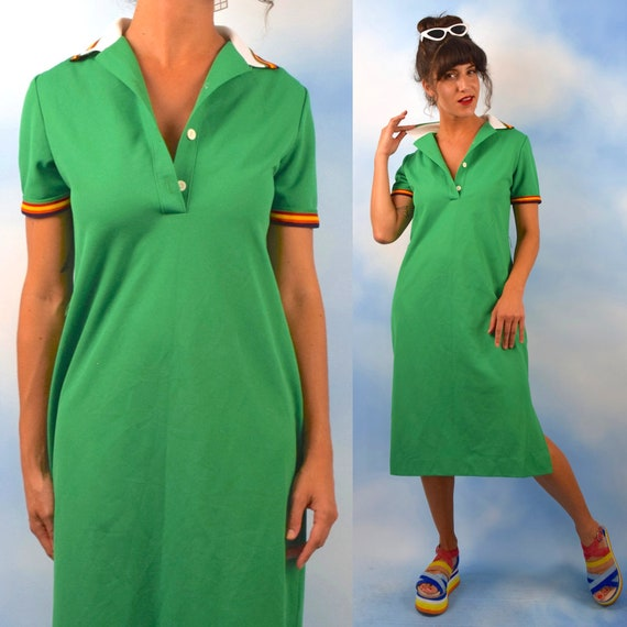 Vintage 70s 80s Kelly Green Rainbow Striped Midi Polo Shirt Dress (size medium, large)