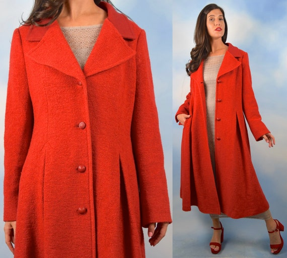 Vintage 60s 70s Red Boucle Wool Blend Princess Coa