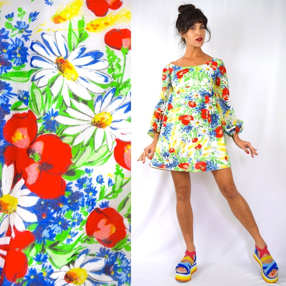 Vintage 60s 70s Rainbow Floral Print Empire Waist Balloon Sleeved Babydoll Dress (size xs)