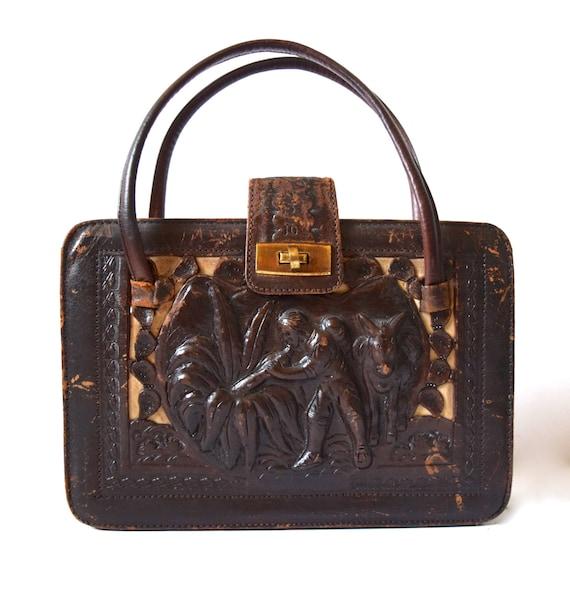 Vintage 40s 50s Chocolate Brown Tooled Leather Handbag