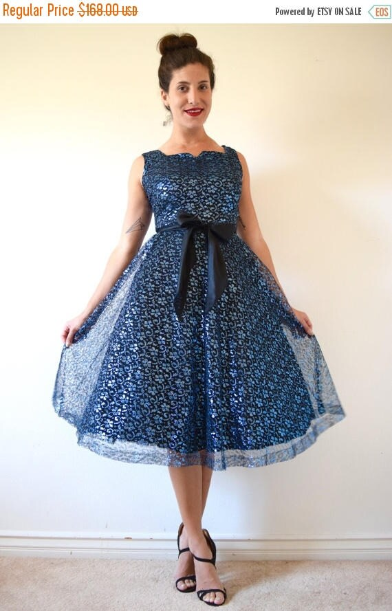 SALE SECTION / 50% off Vintage 50s 60s Metallic Blue and Black Mesh Lace New Look Party Dress (size small)