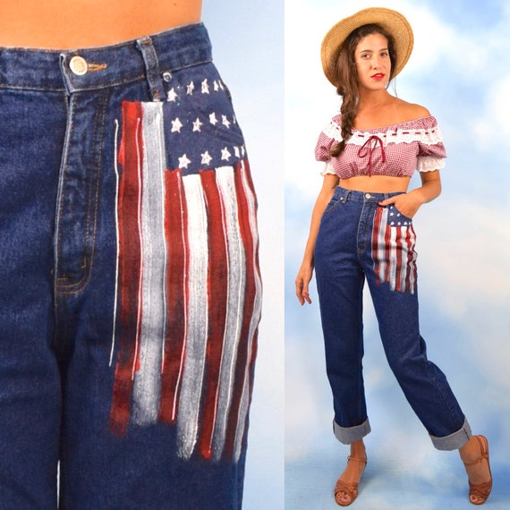 Vintage 90s American Flag Hand Painted High Waisted Straight Legged Jeans