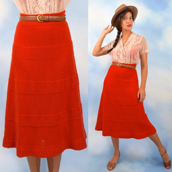 Vintage 60s 70s Pumpkin Orange Hand Knit A Line Skirt (size medium, large)