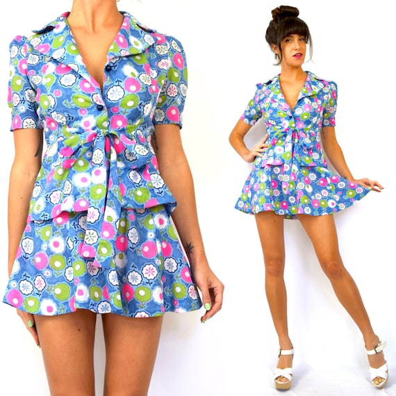 Vintage 60s 70s Flower Power Print Peplum Waist Blouse and Matching High Waisted Micro Mini Skirt (size xs, small)