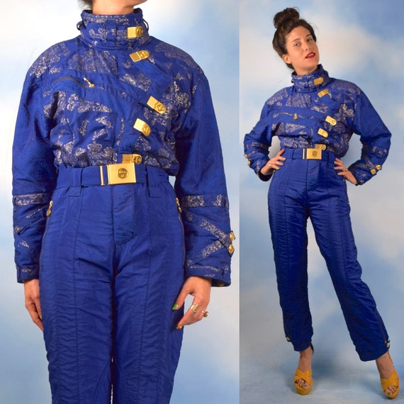 Vintage 80s 90s High Society Royal Blue Monte Carlo Ski Suit (size xs, small, medium)