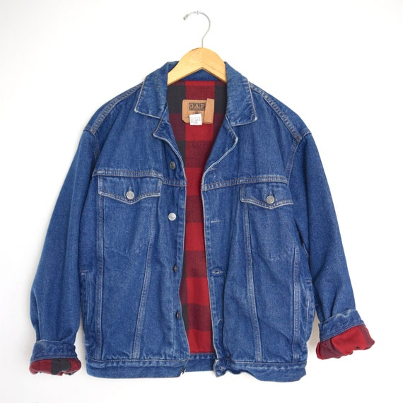Vintage 90s GAP Red and Black Buffalo Plaid Fleece Lined Denim Jacket (mens XS)