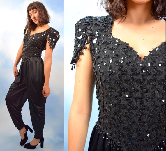 RESERVED Vintage 80s 90s Black Sequined Open Back Harem Pant Jumpsuit (size small, medium)