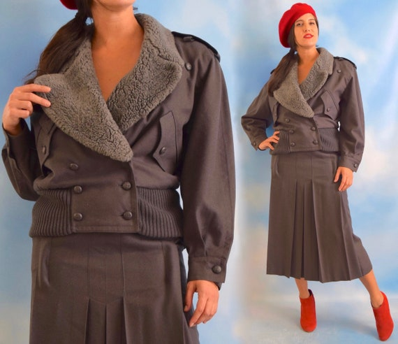 Vintage 80s 90s MONDI Pure Grey Wool Bomber Jacket