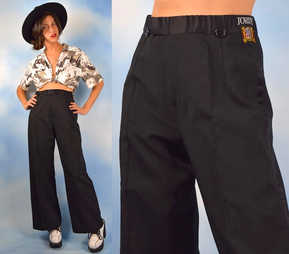 Vintage 70s 80s High Waisted Wide Legged Satin Waistband Trousers with Jordy Patch (size