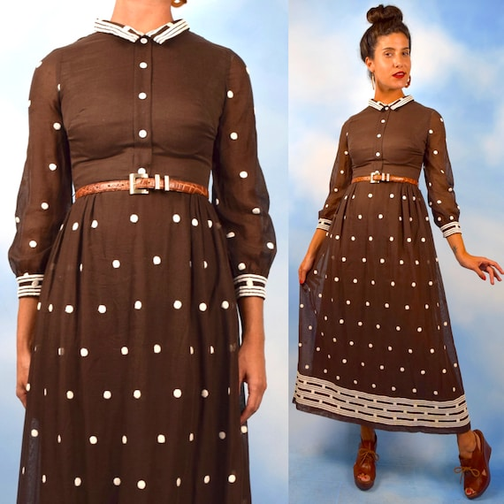 Vintage 60s 70s Brown Cotton Voile White Embroidered Polka Dot Long Sleeved Collared Maxi Dress (size xs, small)