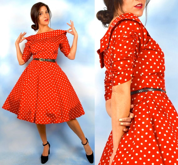 Vintage 50s Red and White Polka Dot Taffeta Portrait Collar New Look Circle Dress (size small, medium)