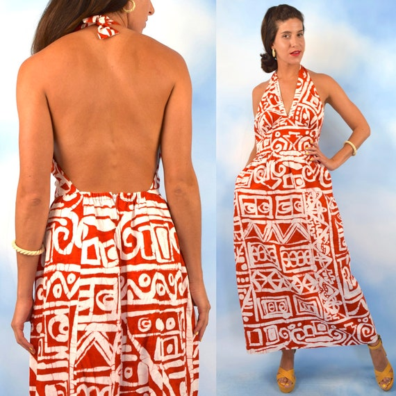 Vintage 60s 70s Orange and White Tiki Print Empire Waist Bias Cut Backless Maxi Dress (size medium)