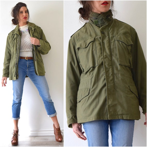 Vintage 60s 70s Army Green Field Jacket (men's size small)