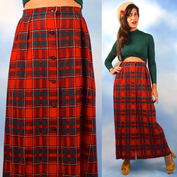 Vintage 60s 70s Pendleton Classic Red and Green Tartan Plaid High Waisted Button Front A Line Maxi Skirt (size medium)