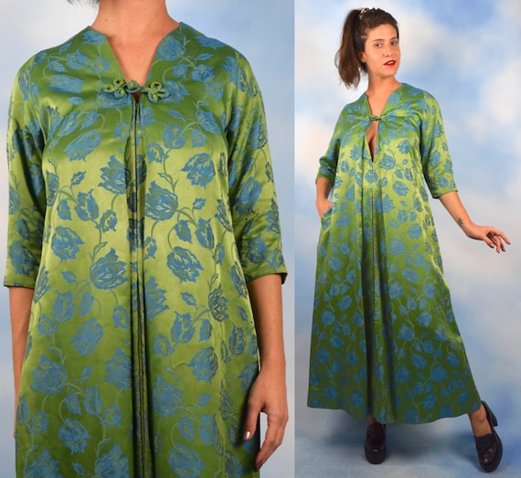 Vintage 50s 60s Green and Blue Floral Print Satin Brocade House Coat