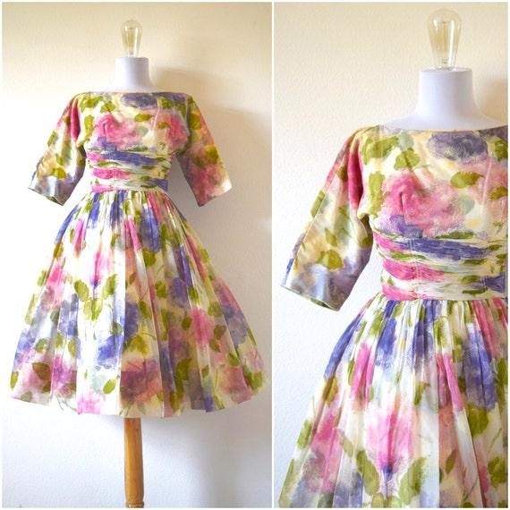 Vintage 50s 60s Garden Gala Floral Organza Dress (size xxs, xs)