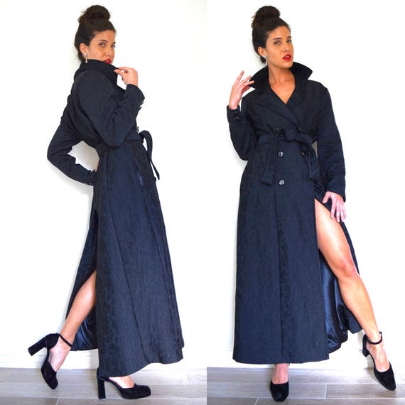 Vintage 60s 70s Black Quilted Double Breasted Princess Coat (size small, medium)