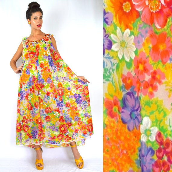 Vintage 60s 70s May Queen Floral Maxi Tent Dress