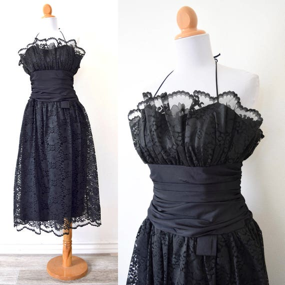 Vintage 70s 80s Black Lace Halter Back Party Dress (size xs, small)