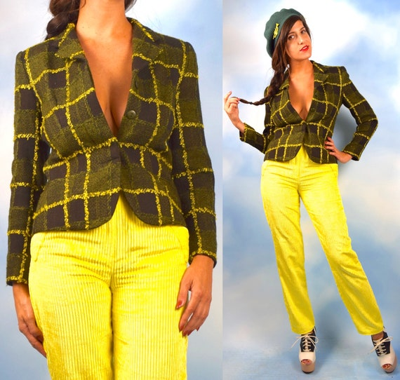 Vintage 90s Green Yellow and Black Nubby Plaid Fitted Blazer (size xs, small)