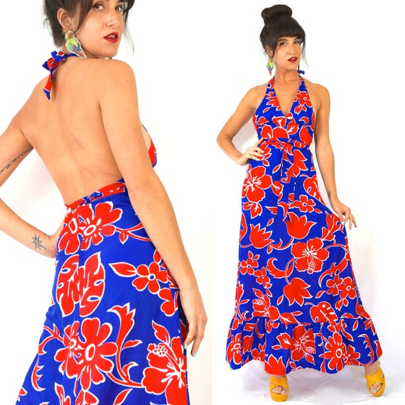 Vintage 60s 70s Red White and Blue Hawaiian Floral Print Backless Halter Empire Waist Maxi Dress (size xs, small)