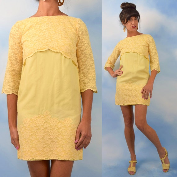Vintage 60s Butter Yellow Scalloped Lace Trimmed Bell Sleeved Mini Shift Dress (size xs)