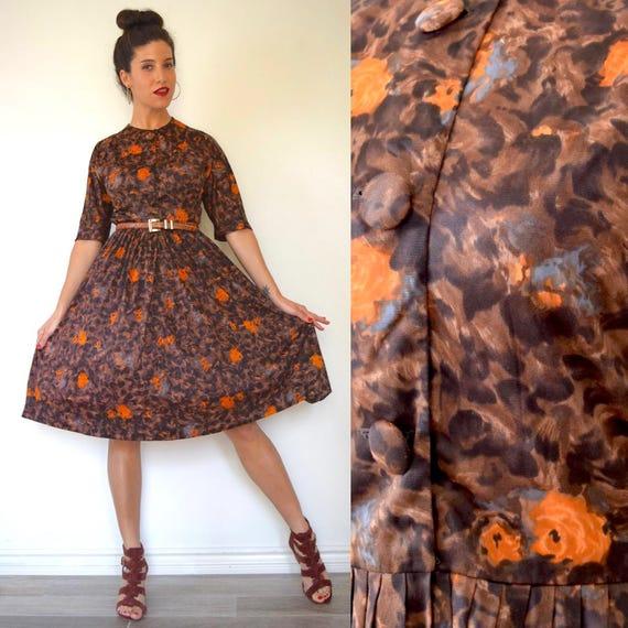 Vintage 50s 60s Cheetah and Floral Print New Look Shirt Waist Dress (size small, medium)