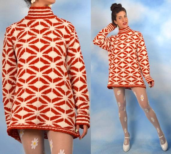 Vintage 90s does 60s Mod Orange and White Geometric Diamond Knit Tunic or Mini Sweater Dress