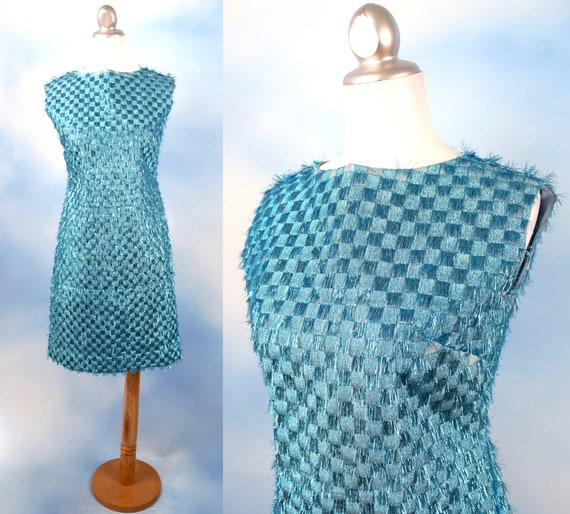 Vintage 60s Turquoise Checkered Eyelash Tinsel Shift Dress (size small)
