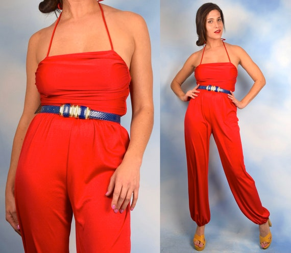 Vintage 70s Siren Red Halter Back Harem Pant Jumpsuit (size xs, small)