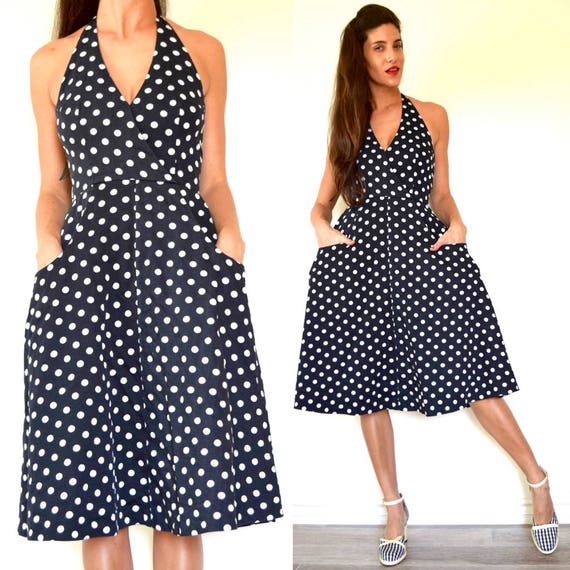 Vintage 70s does 50s Black and White Polka Dot Halter Back Full Skirt Sundress with Front Pockets (size xs, small)