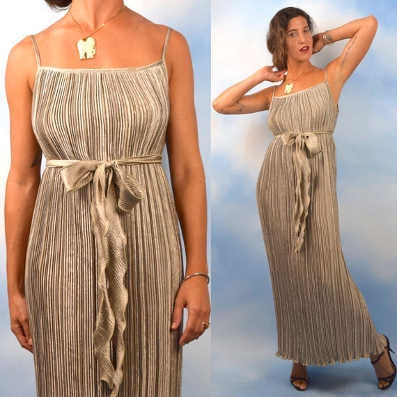 Vintage 80s 90s Jeanne Marc Silver Pearl Slinky Accordion Folded Grecian Style Evening Gown (size large, xl)