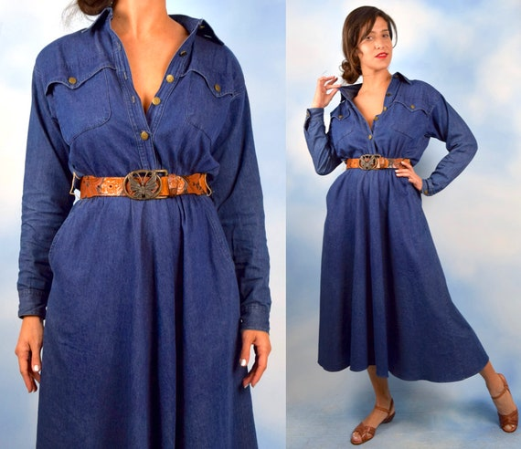 Vintage 90s Classic Denim A Line Shirt Waist Dress (size medium, large)