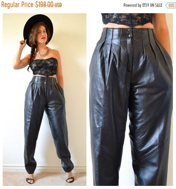 SALE SECTION / 50% off Vintage 80s 90s High Waisted Pleated Black Leather Trousers (size small, medium)